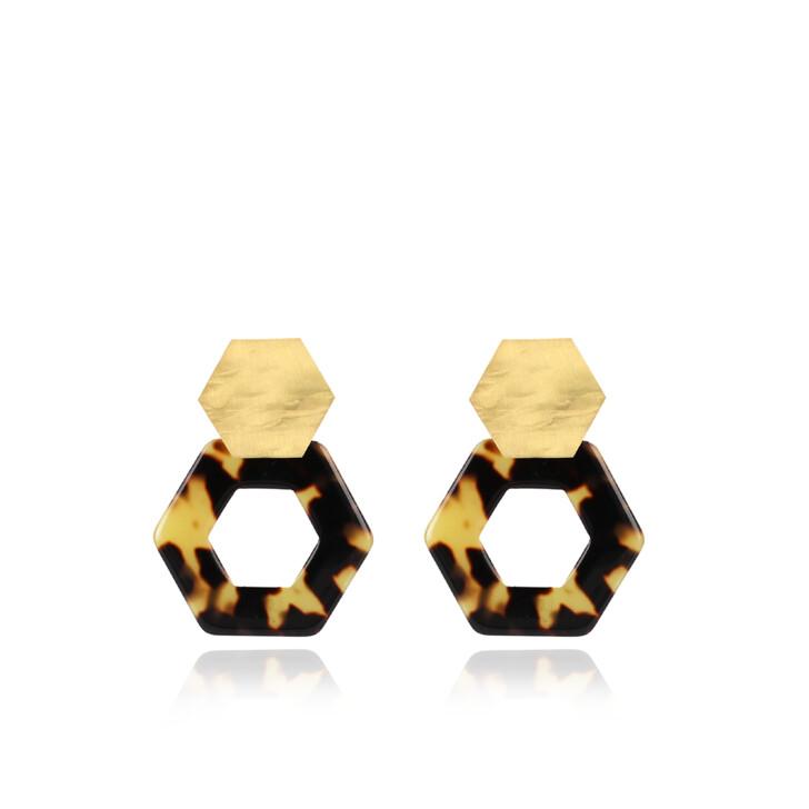 earrings, LOTT.gioielli, Earrings Resin Hexagon Open Small Turtoise Gold