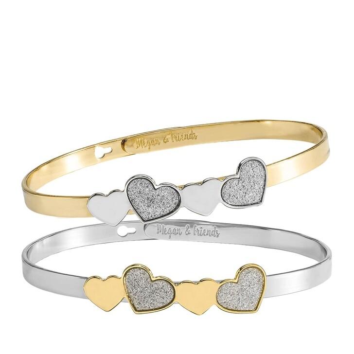 bracelets, Megan & Friends, Bangle Set Heart  Silver/Gold