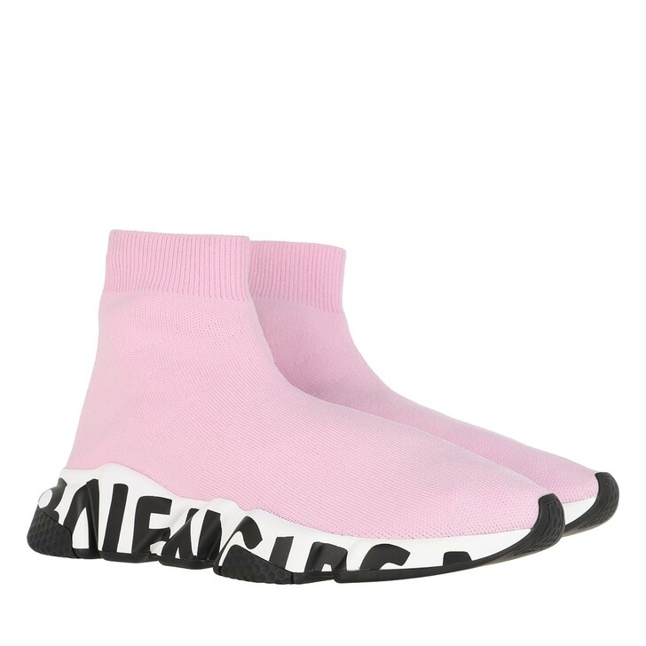 Schuh, Balenciaga, Speed Logo Sneakers Graffiti Light Pink/White