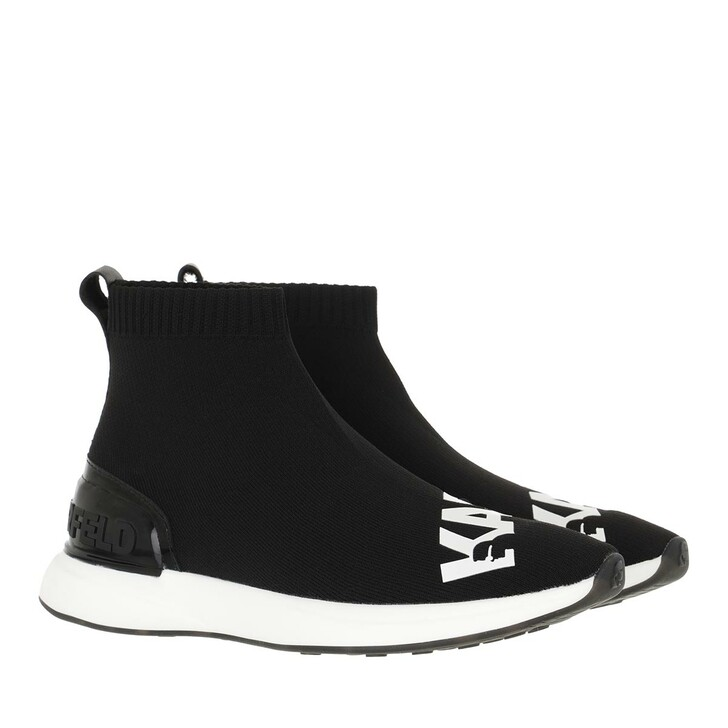 shoes, Karl Lagerfeld, FINESSE Legere Knit Mid Boot Black Knit Textile with White