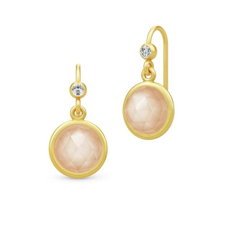 Ohrring, Julie Sandlau, Moon Earrings Gold/Peach