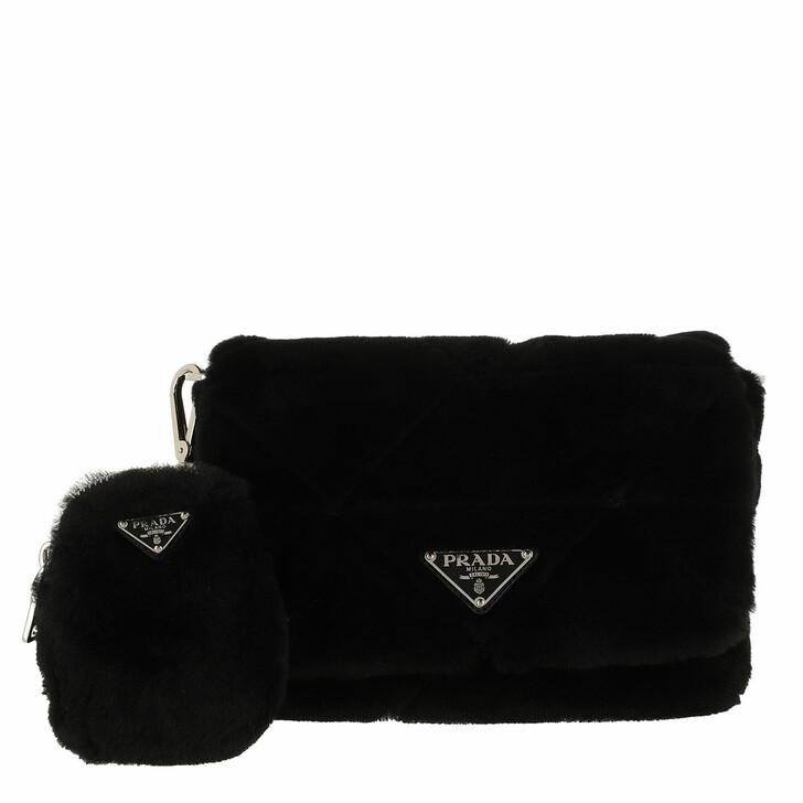 bags, Prada, System Patchwork Bag Leather Black