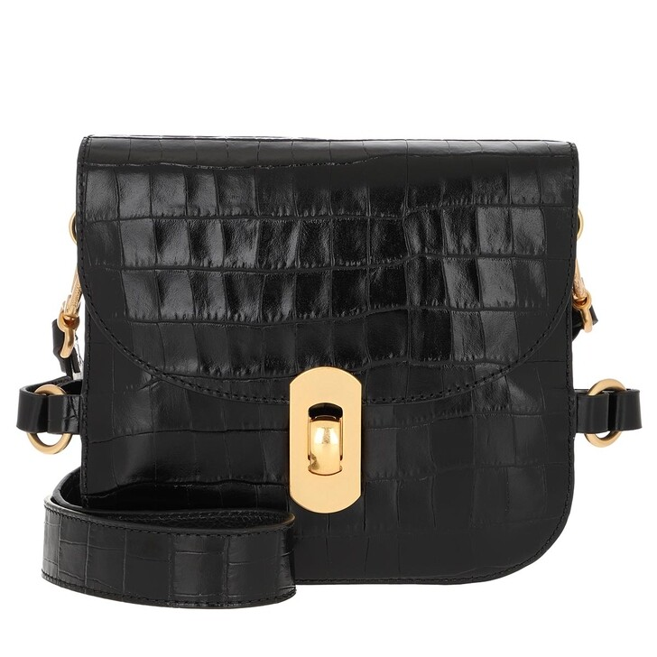 Handtasche, Coccinelle, Zaniah Croco Crossbody Bag Noir