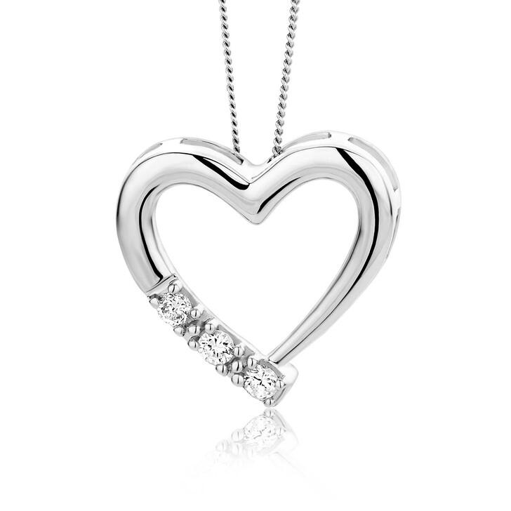 Kette, DIAMADA, 0.08ct Diamond Heart Necklace  14KT White Gold