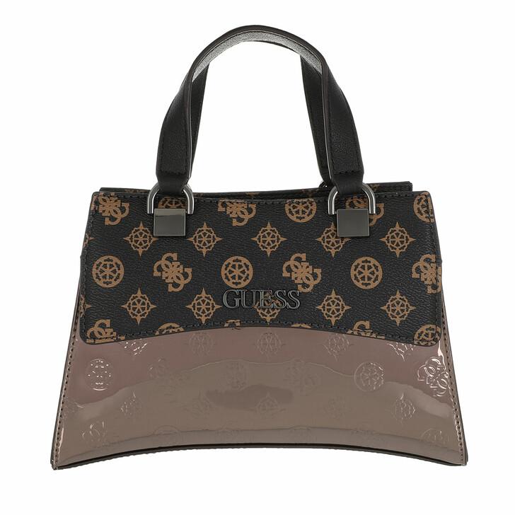 Handtasche, Guess, Dalma Mini Satchel Brown Logo