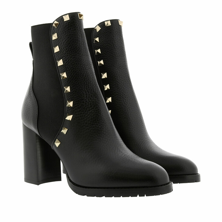 Schuh, Valentino, Rockstud Ankle Boots 90 Leather Black