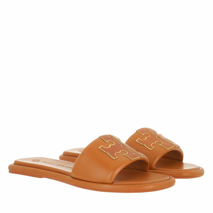 Schuh, Tory Burch, Double T Sport Slide Aged Camello / Gold