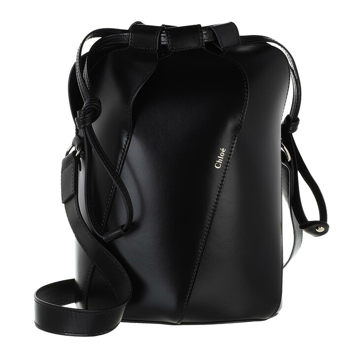 bags, Chloé, Tulip Bucket Bag Leather Black