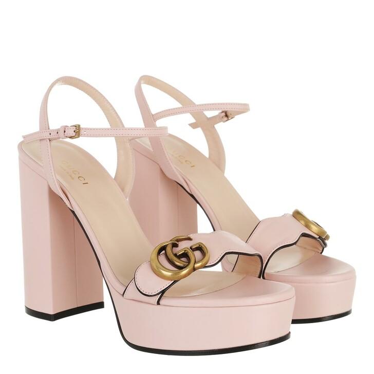 Schuh, Gucci, Metallic Laminate Platform Marmont Double G Sandal Rose
