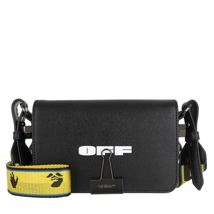 bags, Off-White, Logo Mini Flap Crossbody Bag Black White