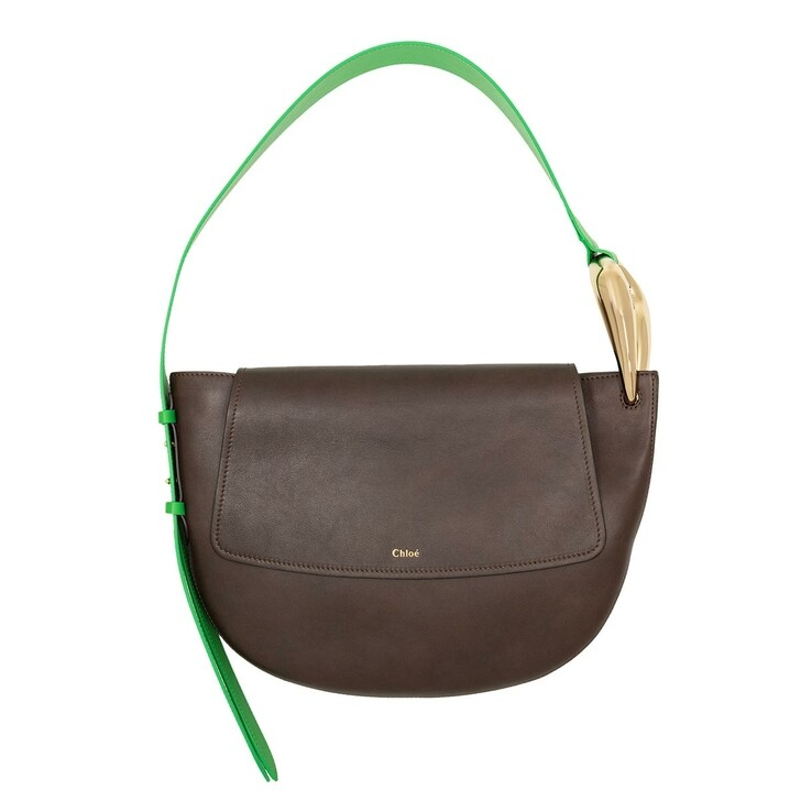 bags, Chloé, Kiss Shoulder Bag Leather Brown/Green