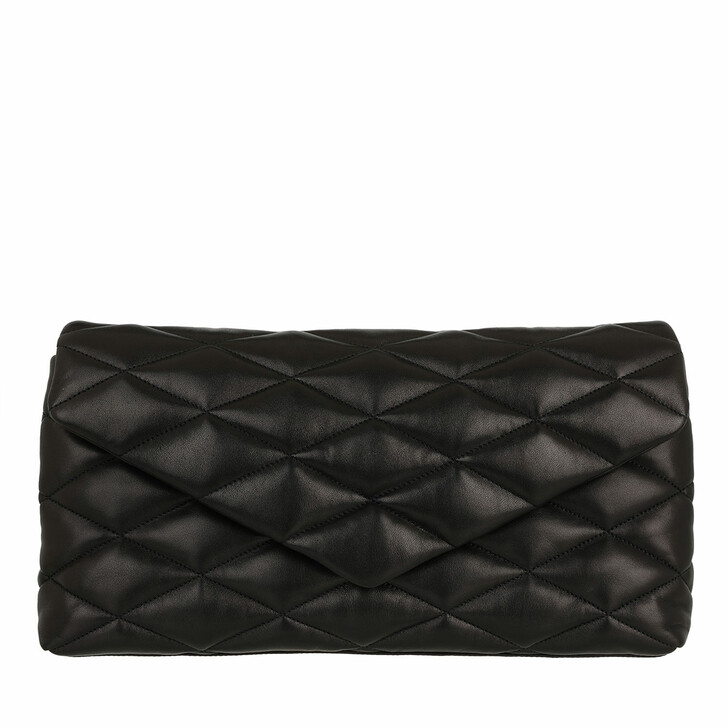 bags, Saint Laurent, Sade Puffer Envelope Clutch Lambskin Black