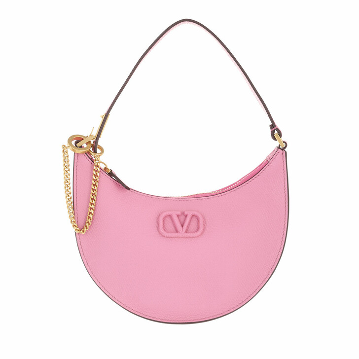 bags, Valentino Garavani, Mini V-Logo Signature Hobo Bag Leather Dawn Pink