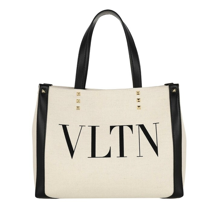 Handtasche, Valentino Garavani, VLTN Mini Canvas Shopping Bag Natural/Black
