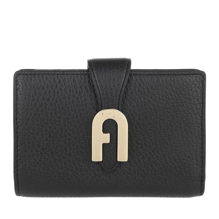 wallets, Furla, Sofia Grainy Medium Compact Wallet Nero