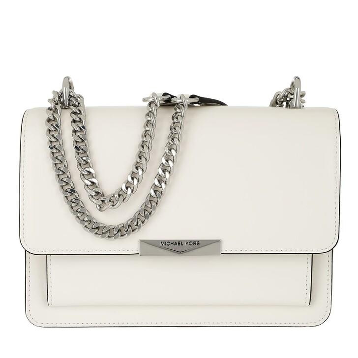 bags, MICHAEL Michael Kors, Jade LG Gusset Shoulder Bag Optic White