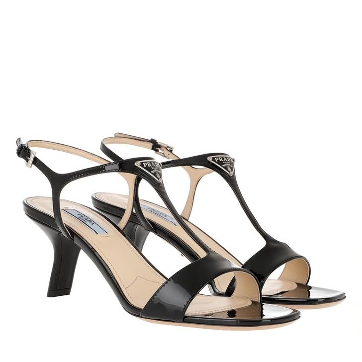 Schuh, Prada, T-Strap Logo Sandals Black