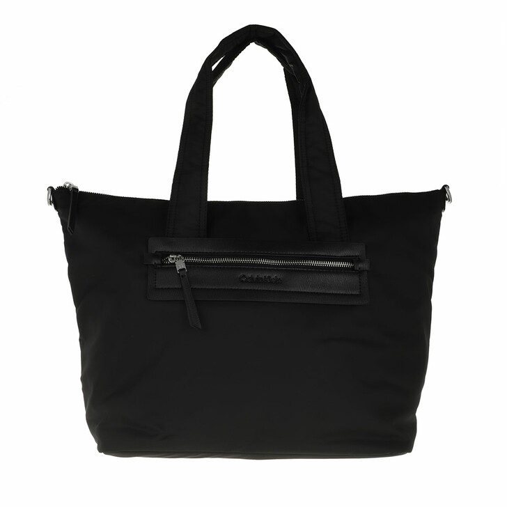 bags, Calvin Klein, CK Essential Shopper With Zip Large CK Black