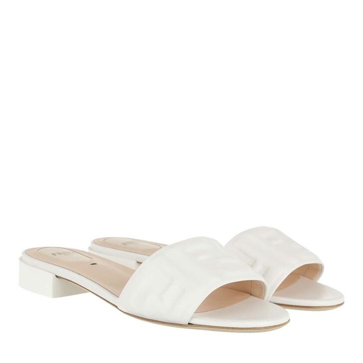 Schuh, Fendi, FF Logo Sandals White