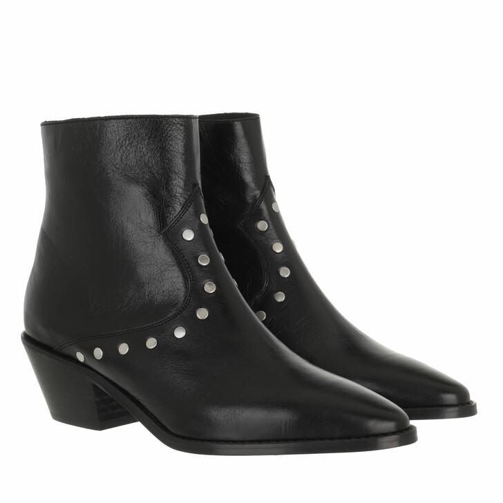 shoes, Zadig & Voltaire, Tyler - Vintage Patent & Flat Studs Black