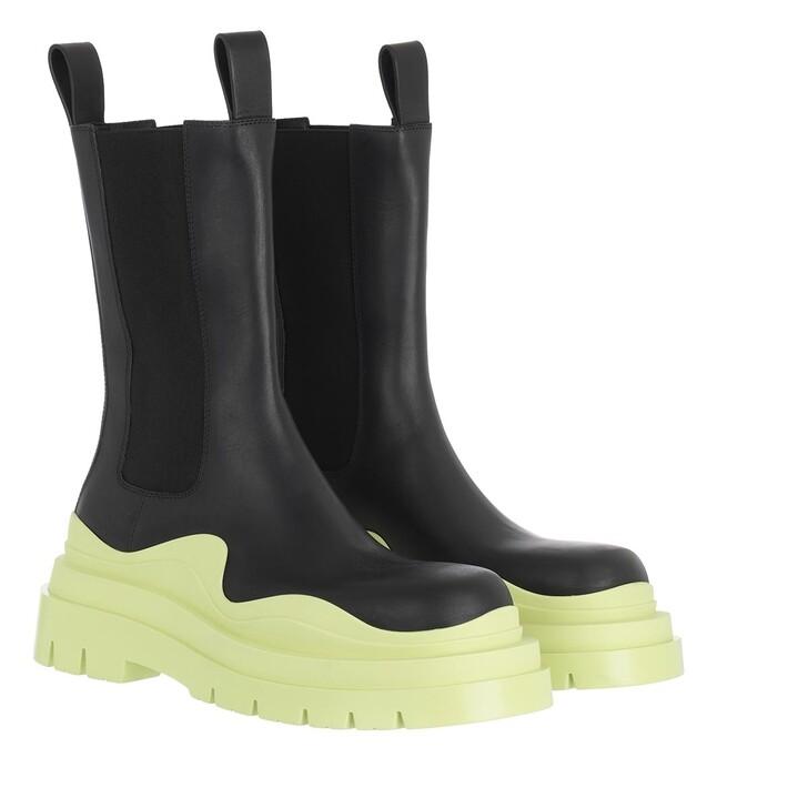 Schuh, Bottega Veneta, Tire Boot Leather Black Seagrass