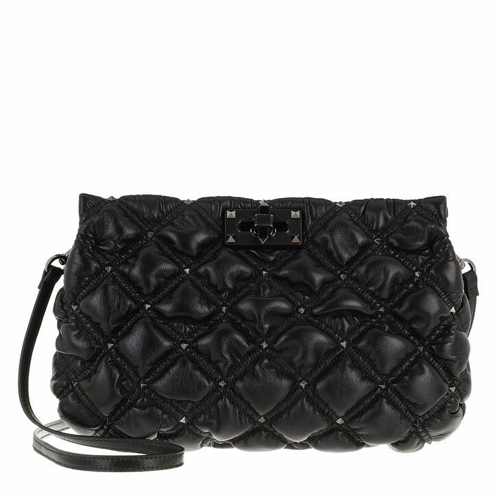 Handtasche, Valentino Garavani, Spike Me Clutch Nappa Leather Black