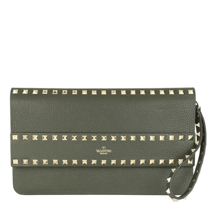 Handtasche, Valentino, Rockstud Clutch Leather Khaki