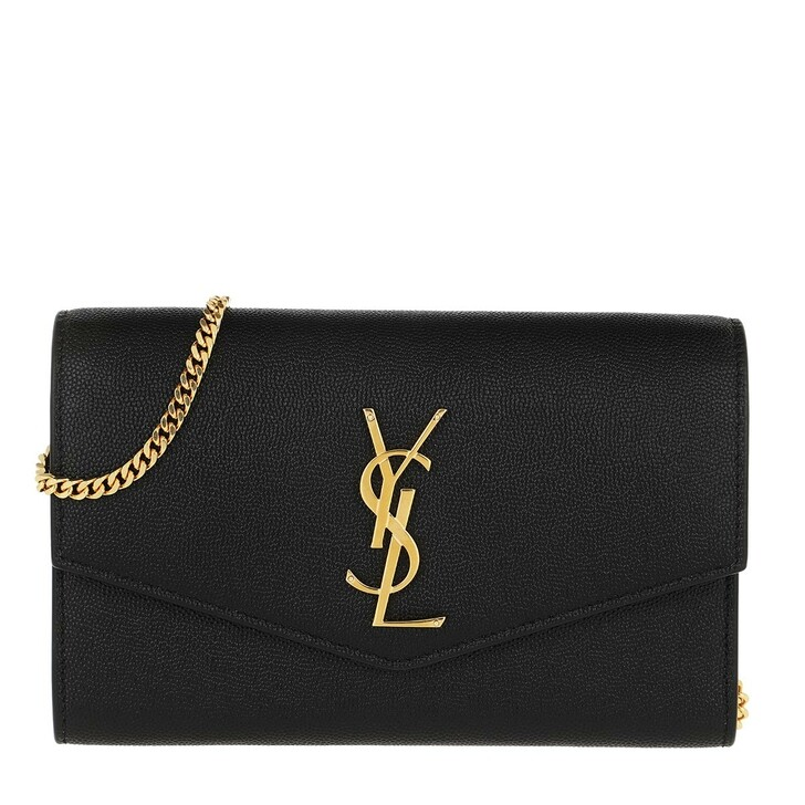 bags, Saint Laurent, Flap Chain Crossbody Bag Black