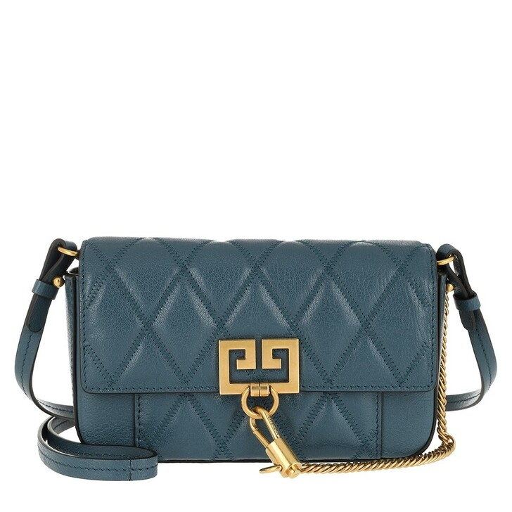 bags, Givenchy, Mini Pocket Bag Diamond Quilted Leather Oil Blue