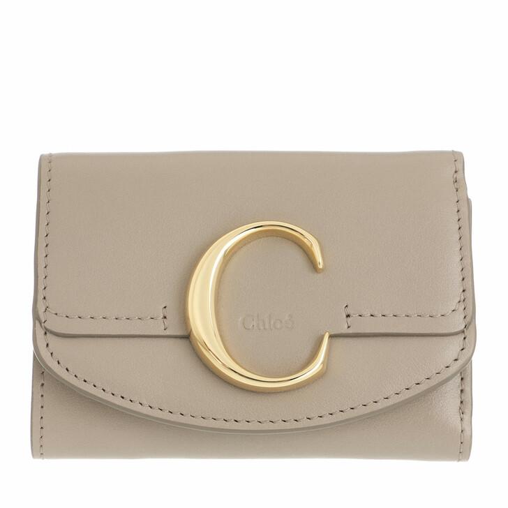 wallets, Chloé, C Folding Wallet Leather Motty Grey