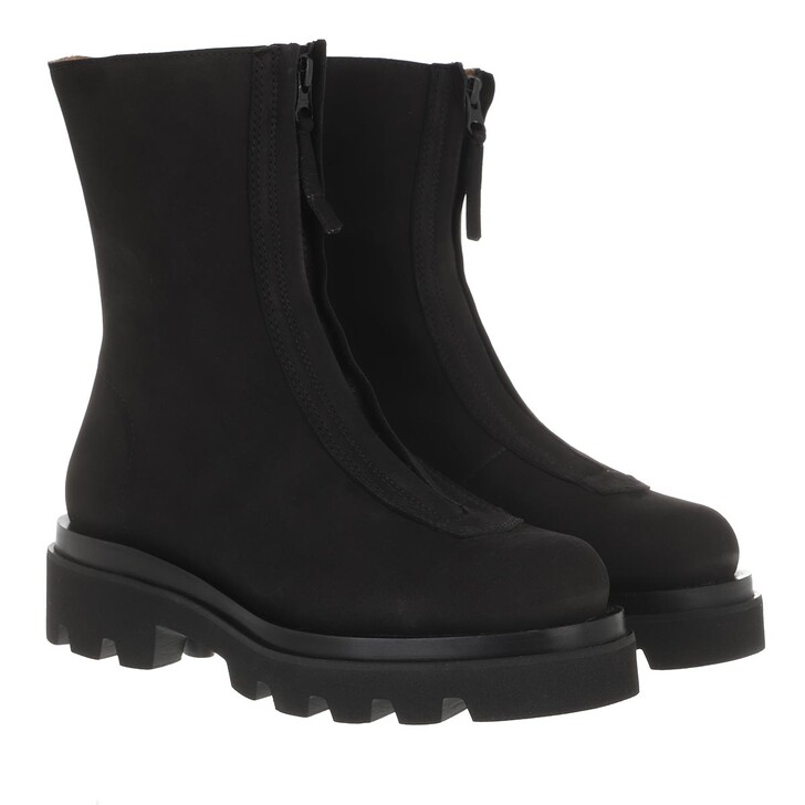 shoes, Toral, Boots With Zipper Front And Track Sole Suede Black