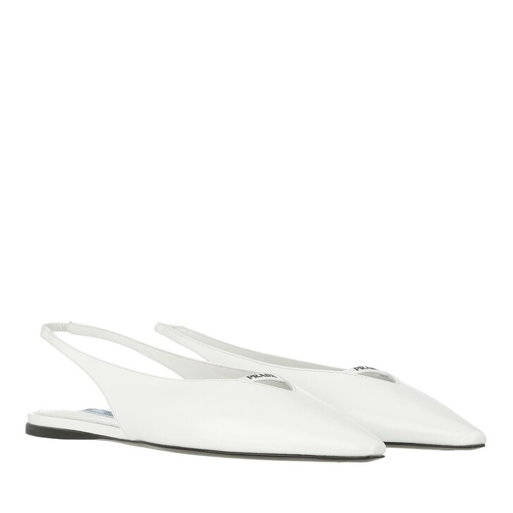 Schuh, Prada, Flat Slingback Loafer Brushed Leather White