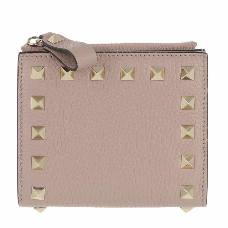 Geldbörse, Valentino Garavani, Rockstud Flap French Compact Wallet Leather Poudre