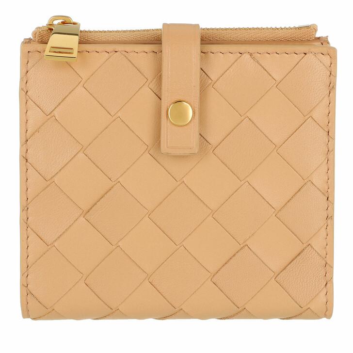 Geldbörse, Bottega Veneta, Intrecciato Continental Wallet Leather Beige