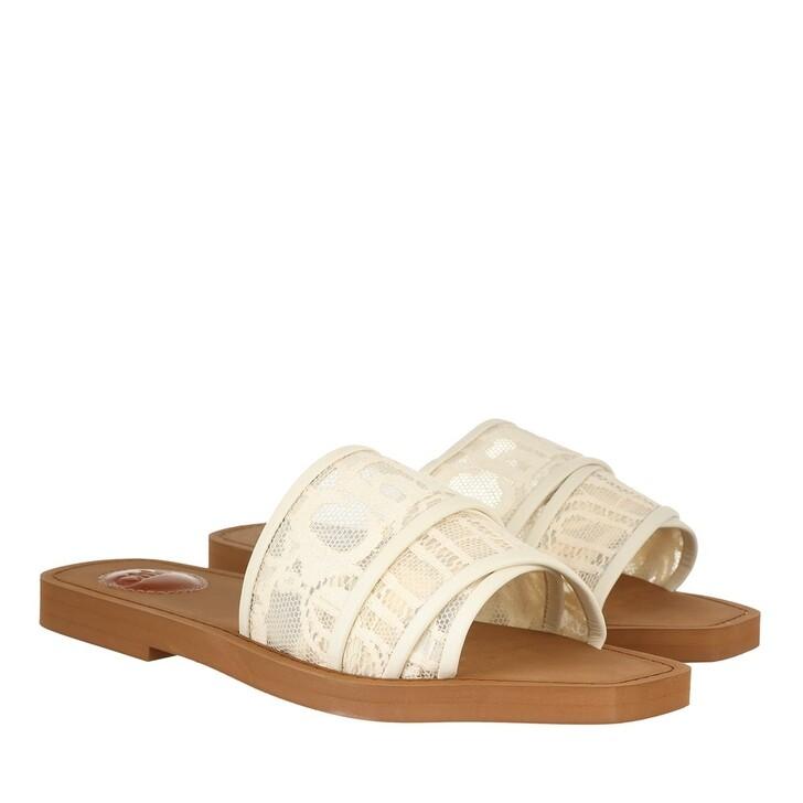 shoes, Chloé, Woody Canvas Logo Sandals Mild Beige