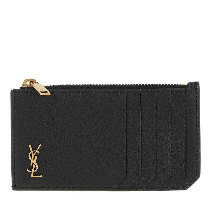 wallets, Saint Laurent, Monogram Fragments Zipped Card Case Black