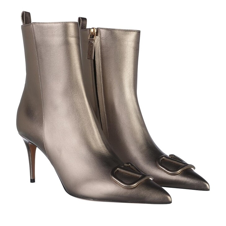 Schuh, Valentino, V Logo Ankle Boots Leather Bronze