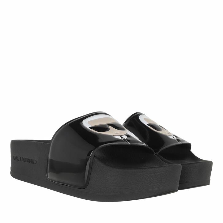 Schuh, Karl Lagerfeld, KONDO MAXI Shine Ikonic Slide Black Rubber
