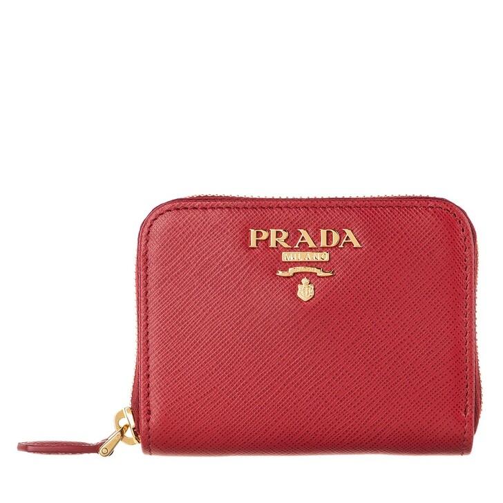 Geldbörse, Prada, Small Saffiano Zip Around Logo Wallet Fuoco