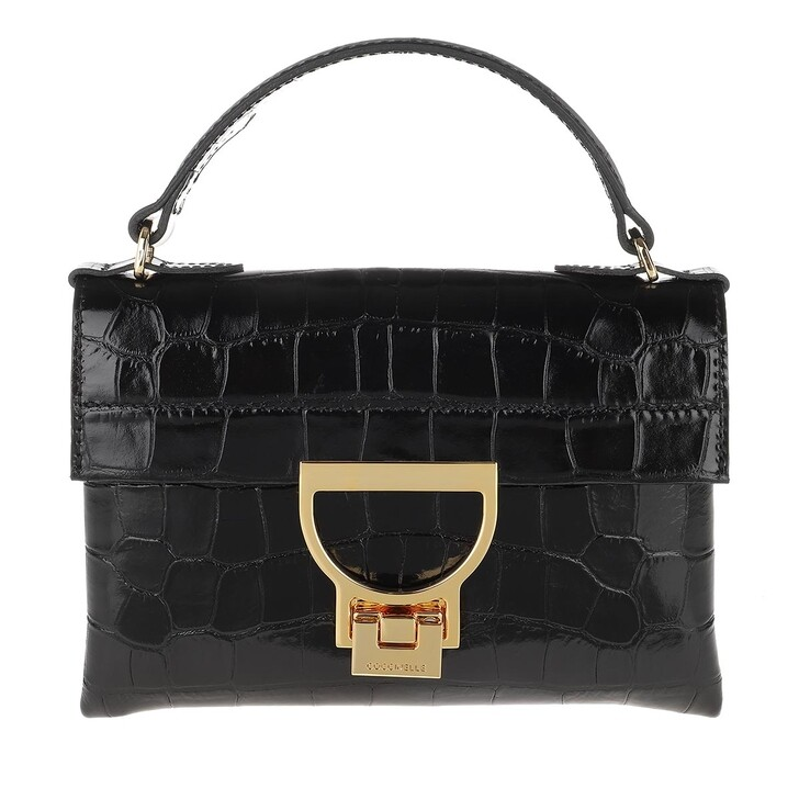 Handtasche, Coccinelle, Mignon Croco Shiny Soft Noir