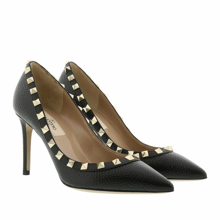 shoes, Valentino Garavani, Studded Rockstud Pumps Leather Black