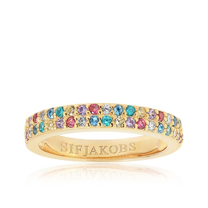 Ring, Sif Jakobs Jewellery, Corte Due Ring Multicoloured Zirconia 18K Gold Plated