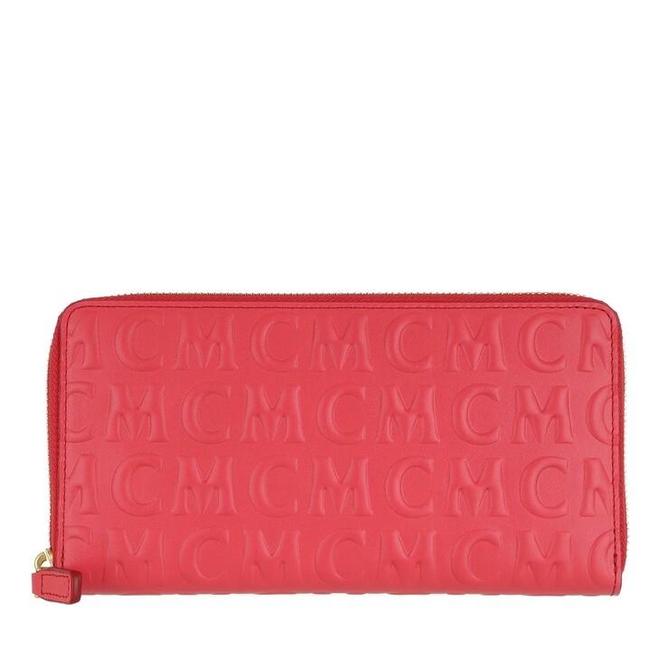 Geldbörse, MCM, MCM Monogramme Leather Zip Wallet Large Poppy Red