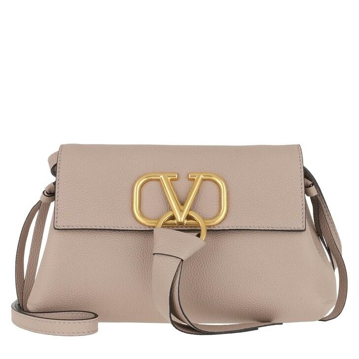 Handtasche, Valentino Garavani, V Ring Clutch Leather Poudre