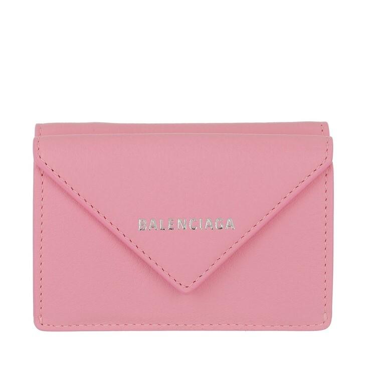 Geldbörse, Balenciaga, Mini Paper Wallet Calfskin Pink