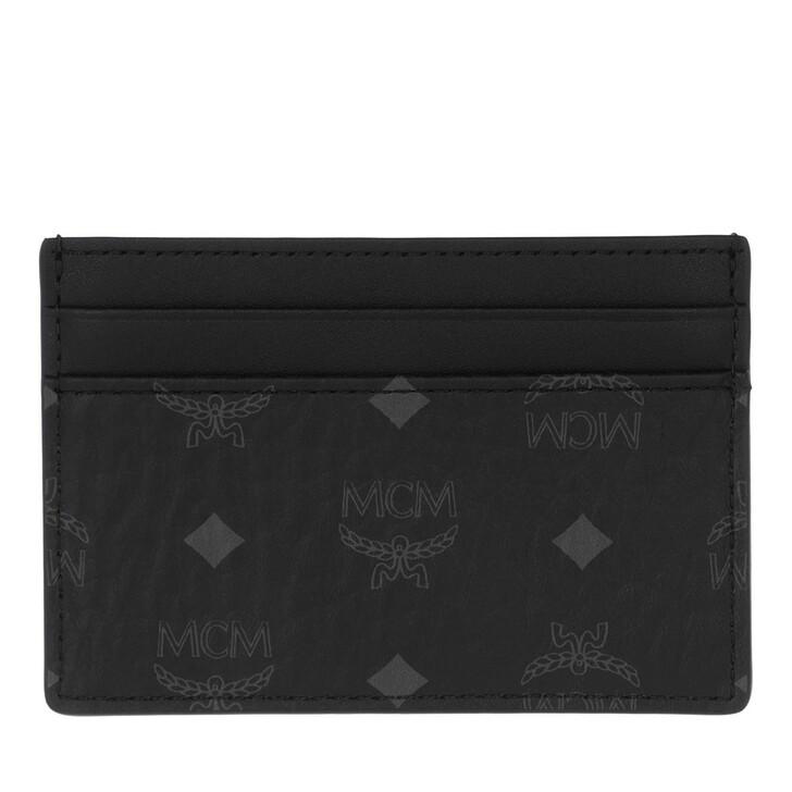 wallets, MCM, Visetos Original Mini Card Case Black