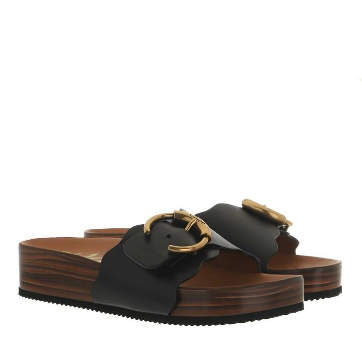 Schuh, Chloé, Ingrid Flat Footbeds Sandals Leather Black