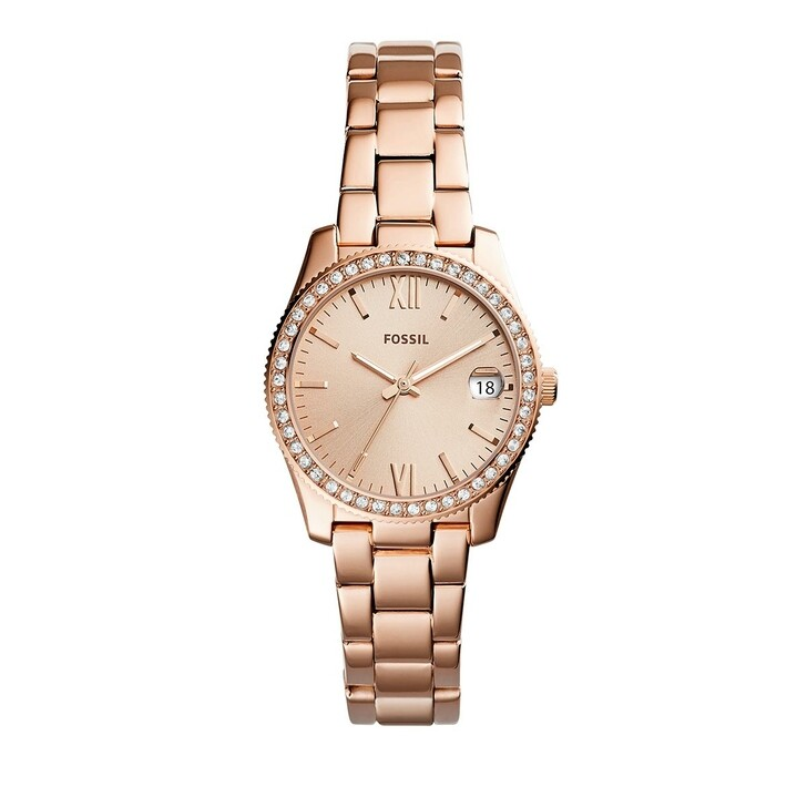 watches, Fossil, Scarlette Mini Three-Hand Stainless Steel Watch Date Rose Gold-Tone