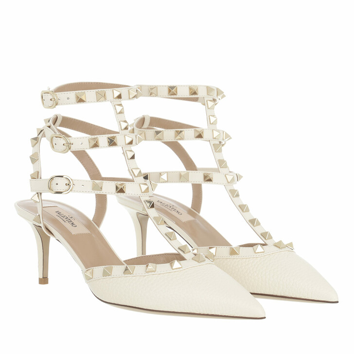 Schuh, Valentino Garavani, Rockstud Ankle Strap Grained Leather Pumps Light Ivory