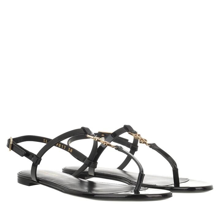 shoes, Saint Laurent, Cassandra Flat Sandals Leather Black